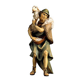 Pastore e pecora sulle spalle presepe Original legno dipinto Valgardena 12 cm s1