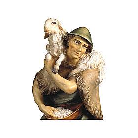 Pastore e pecora sulle spalle presepe Original legno dipinto Valgardena 12 cm s2