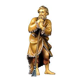 Pecoraio con zappa presepe Original legno dipinto Valgardena 10 cm s1