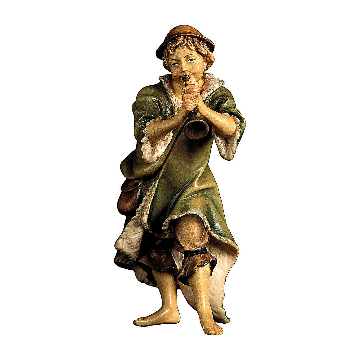 Pastore con tromba presepe Original legno dipinto Valgardena 10 cm 4