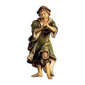Pastore con tromba presepe Original legno dipinto Valgardena 10 cm s1