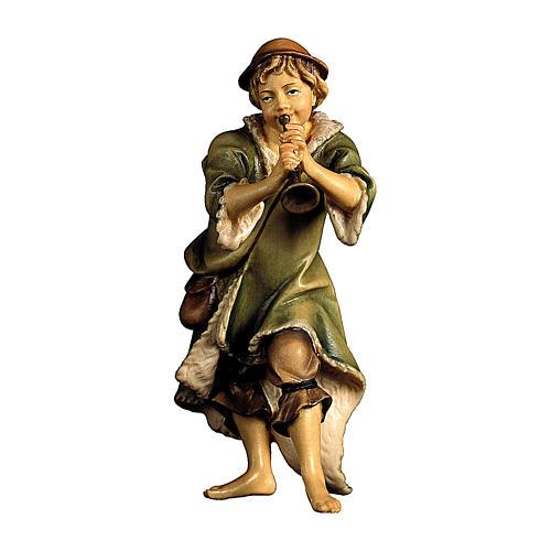 Pastore con tromba presepe Original legno dipinto Valgardena 10 cm 1