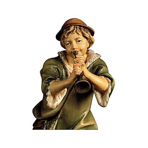 Pastore con tromba presepe Original legno dipinto Valgardena 10 cm 2