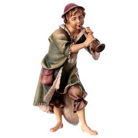 Belén Val Gardena: Pastor con trompeta belén Original madera pintada Val Gardena 12 cm de altura media