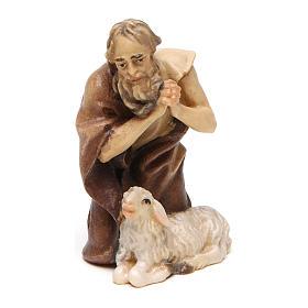 Belén Val Gardena: Pastor de rodillas con oveja belén Original madera pintada Val Gardena 10 cm de altura media
