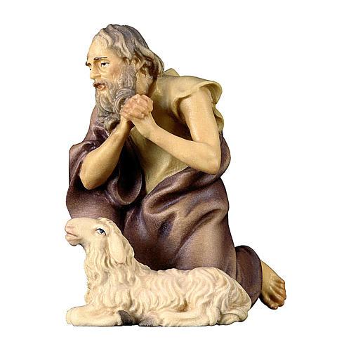 Pastore inginocchiato con pecora presepe Original legno dipinto Valgardena 10 cm 1