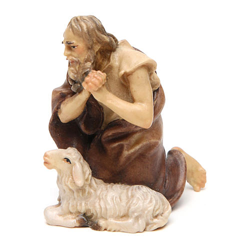 Pastore inginocchiato con pecora presepe Original legno dipinto Valgardena 10 cm 2