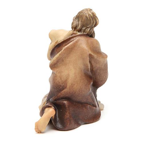 Pastore inginocchiato con pecora presepe Original legno dipinto Valgardena 10 cm 3