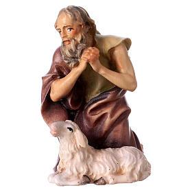 Belén Val Gardena: Pastor de rodillas con oveja belén Original madera pintada Val Gardena 12 cm de altura media
