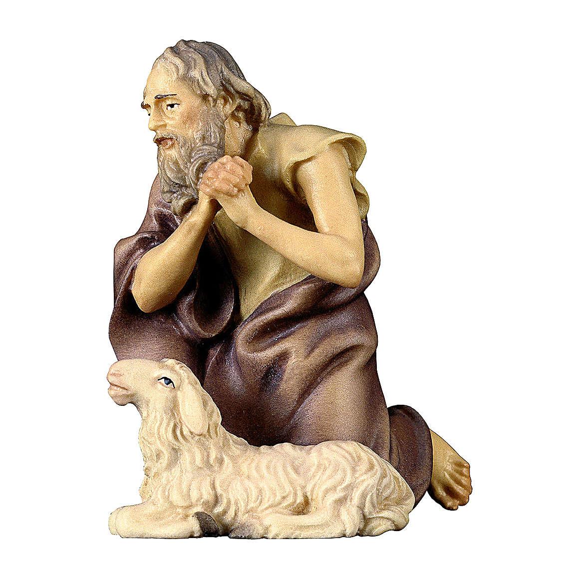 Pastore inginocchiato con pecora presepe Original legno dipinto Valgardena 12 cm 4