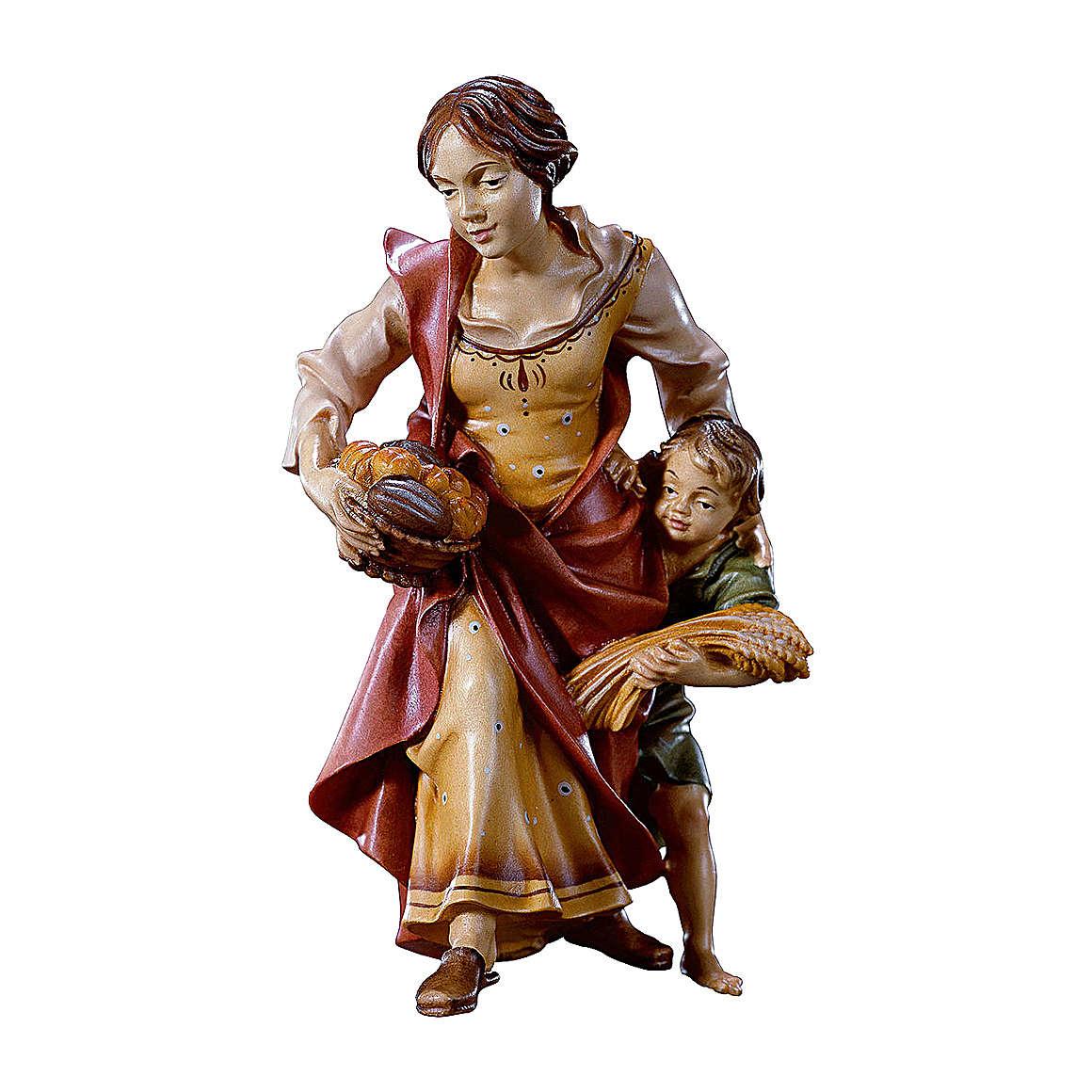 Contadina con bambino presepe Original legno dipinto Valgardena 10 cm 4