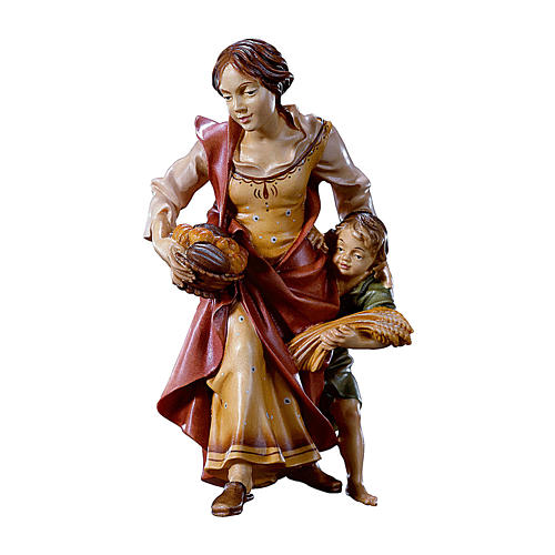 Contadina con bambino presepe Original legno dipinto Valgardena 10 cm 1
