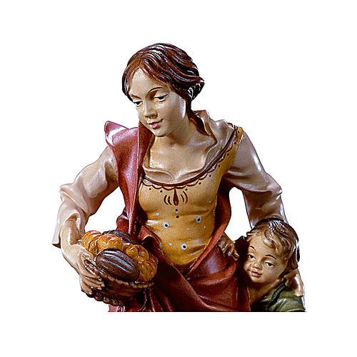 Contadina con bambino presepe Original legno dipinto Valgardena 10 cm 2