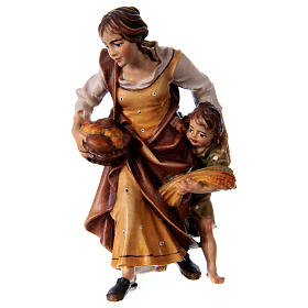 Belén Val Gardena: Campesina con niño belén Original madera pintada Val Gardena 12 cm de altura media