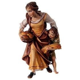 Presepe Val Gardena:  Contadina con bambino presepe Original legno dipinto Valgardena 12 cm