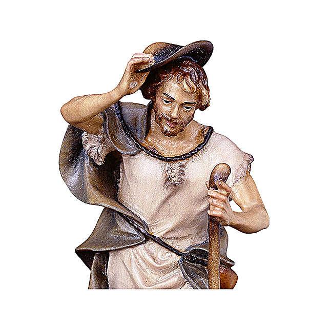 Pastore con bastone e pecora presepe Original legno dipinto Valgardena 10 cm 4
