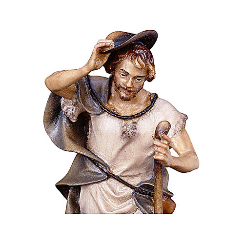 Pastore con bastone e pecora presepe Original legno dipinto Valgardena 10 cm 2