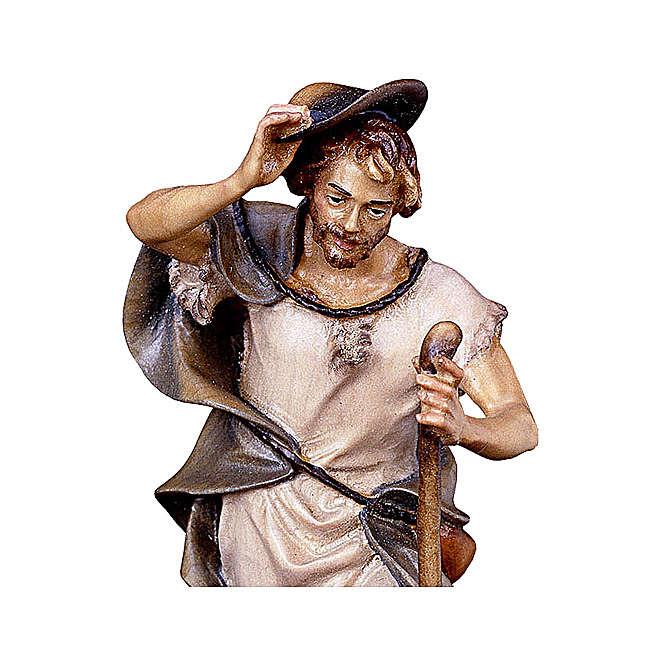 Pastore con bastone e pecora presepe Original legno dipinto Valgardena 12 cm 4