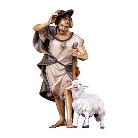 Pastore con bastone e pecora presepe Original legno dipinto Valgardena 12 cm s1