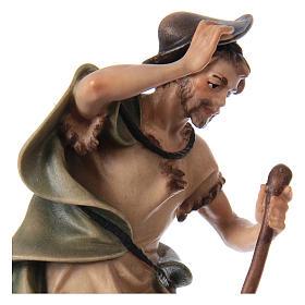 Pastore con bastone e pecora presepe Original legno dipinto Valgardena 12 cm s2