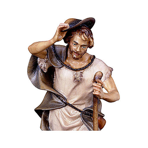 Pastore con bastone e pecora presepe Original legno dipinto Valgardena 12 cm 2