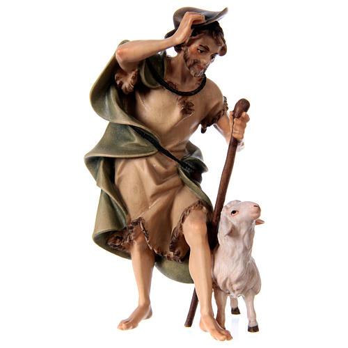 Pastore con bastone e pecora presepe Original legno dipinto Valgardena 12 cm 1