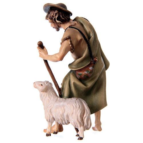 Pastore con bastone e pecora presepe Original legno dipinto Valgardena 12 cm 3