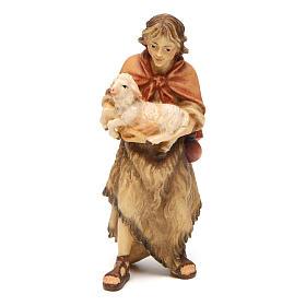 Belén Val Gardena: Pastor con cordero belén Original madera pintada Val Gardena 10 cm de altura media