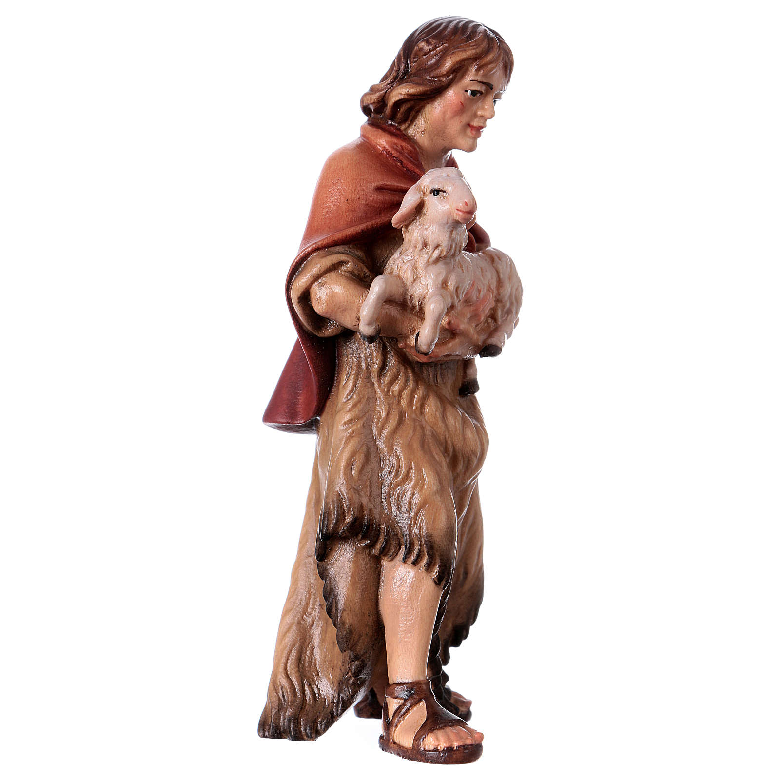 Farmer with lamb Original Nativity Scene in painted wood from Valgardena 12 cm 4