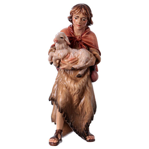 Farmer with lamb Original Nativity Scene in painted wood from Valgardena 12 cm 1