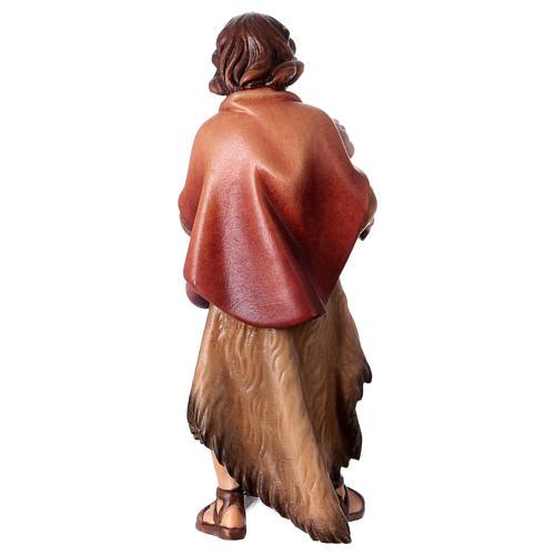 Pastor con cordero belén Original madera pintada Val Gardena 12 cm de altura media 4