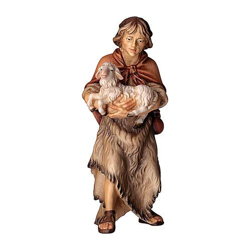Pastore con agnello presepe Original legno dipinto Valgardena 12 cm 1