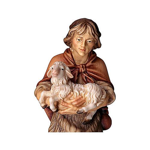 Pastore con agnello presepe Original legno dipinto Valgardena 12 cm 2