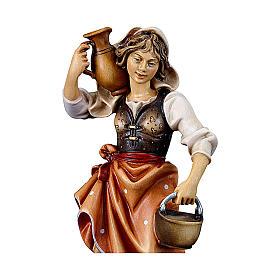 Contadina con brocca presepe Original legno dipinto Valgardena 10 cm s2