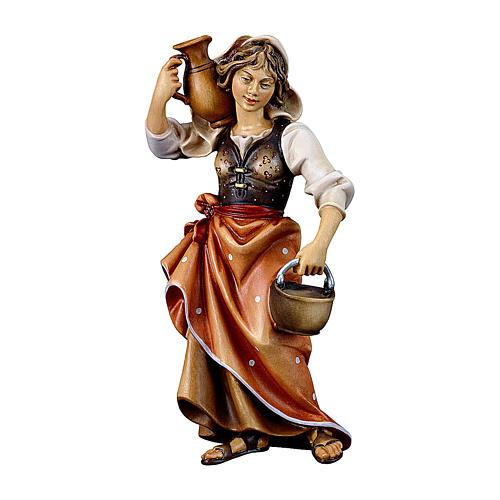 Contadina con brocca presepe Original legno dipinto Valgardena 10 cm 1