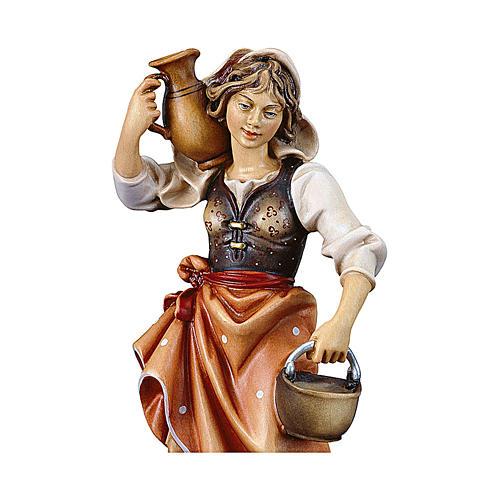 Contadina con brocca presepe Original legno dipinto Valgardena 12 cm 2