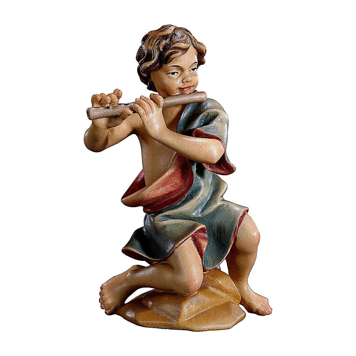 Bambino inginocchiato con flauto presepe Original legno dipinto Valgardena 10 cm 4