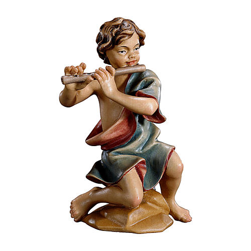 Bambino inginocchiato con flauto presepe Original legno dipinto Valgardena 10 cm 1