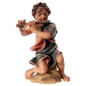 Belén Val Gardena: Niño de rodillas con flauta belén Original madera pintada Val Gardena 12 cm de altura media