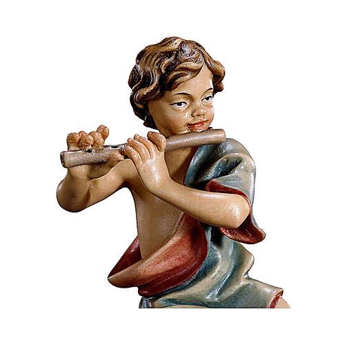 Bambino inginocchiato con flauto presepe Original legno dipinto Valgardena 12 cm 2