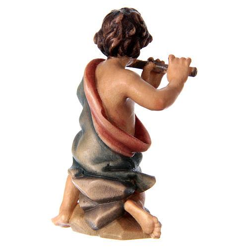 Bambino inginocchiato con flauto presepe Original legno dipinto Valgardena 12 cm 3