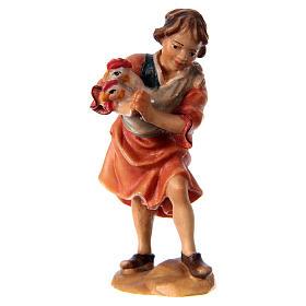 Belén Val Gardena: Niño con gallinas belén Original madera pintada Val Gardena 10 cm de altura media