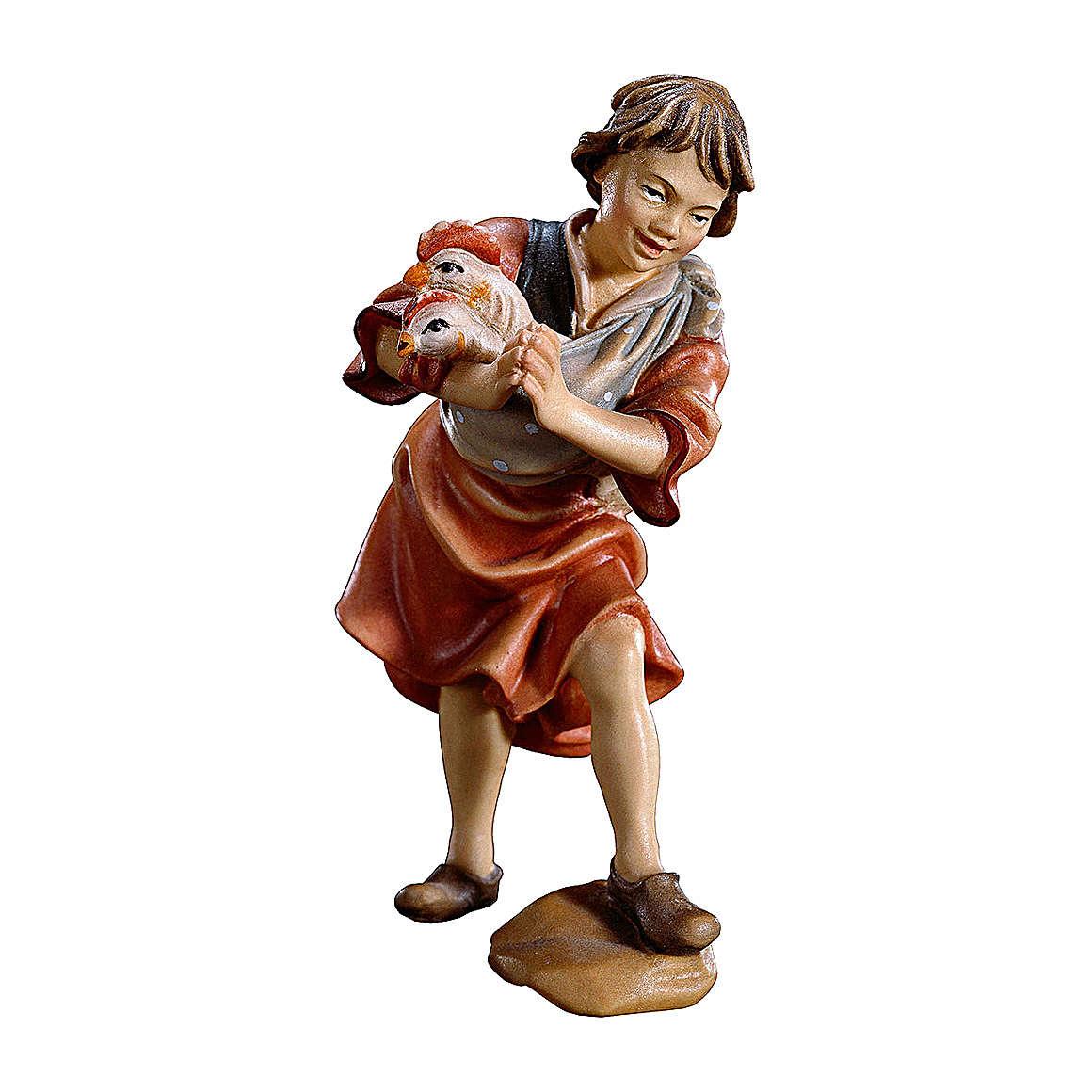 Bambino con galline presepe Original legno dipinto Valgardena 10 cm 4