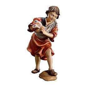 Bambino con galline presepe Original legno dipinto Valgardena 10 cm s1