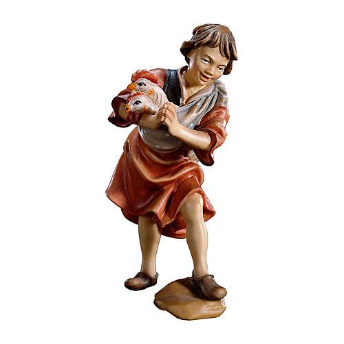 Bambino con galline presepe Original legno dipinto Valgardena 10 cm 1