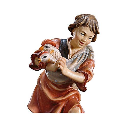 Bambino con galline presepe Original legno dipinto Valgardena 10 cm 2