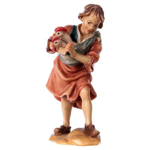 Niño con gallinas belén Original madera pintada Val Gardena 12 cm de altura media 1
