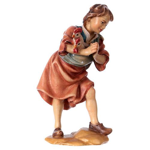 Niño con gallinas belén Original madera pintada Val Gardena 12 cm de altura media 3