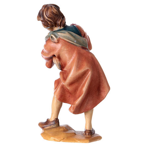 Niño con gallinas belén Original madera pintada Val Gardena 12 cm de altura media 4