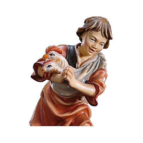 Bambino con galline presepe Original legno dipinto Valgardena 12 cm 2